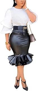 Leather Skirts for Women PU Pearl Ruffle Asymmetrical Hem Knee Length Black Skirt Plus Size