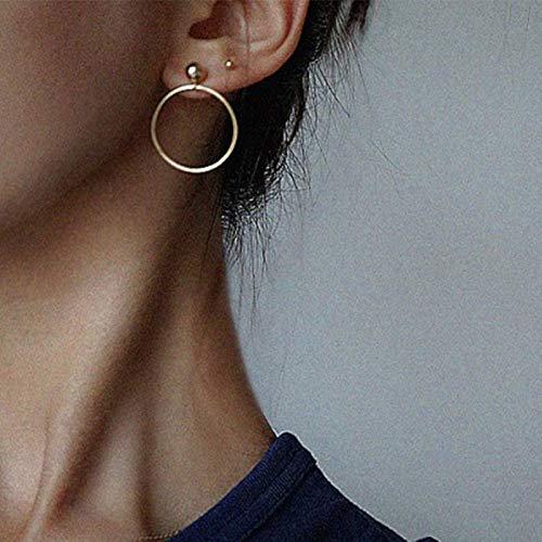 Yienate Pendientes de aro de moda, pendientes de aro con diseño minimalista para mujeres y niñas (dorado)