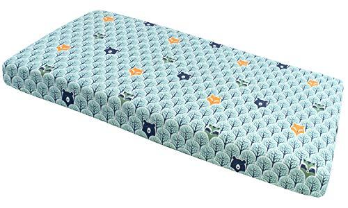 Spannbettlaken Spannbetttuch 60x120cm 100% Baumwolle Baby Bettwäsche Medi Partners Babymatratze schlafsack Kinderbett Babybett (Wald mit Minze)