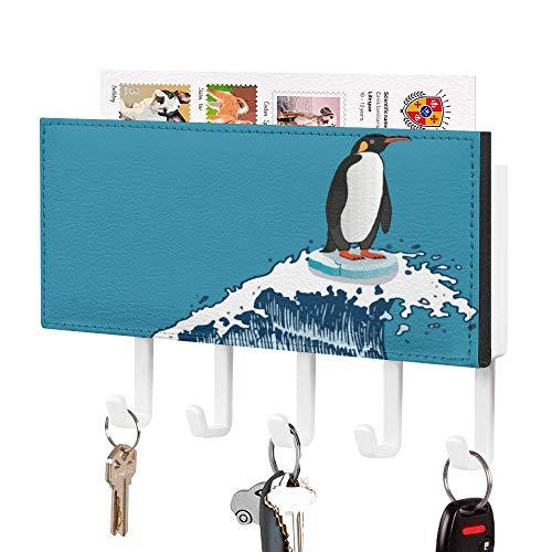 Soporte para llaves, gancho para colgar en la pared, divertido paisaje de pingüino emperador para surf, soporte de correo de entrada de pared, organizador de llaves decorativo con 5 ganchos