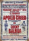 Letrero de metal retro vintage jueves 1 de enero de 1976 Apollo Creed Vs Rocky...