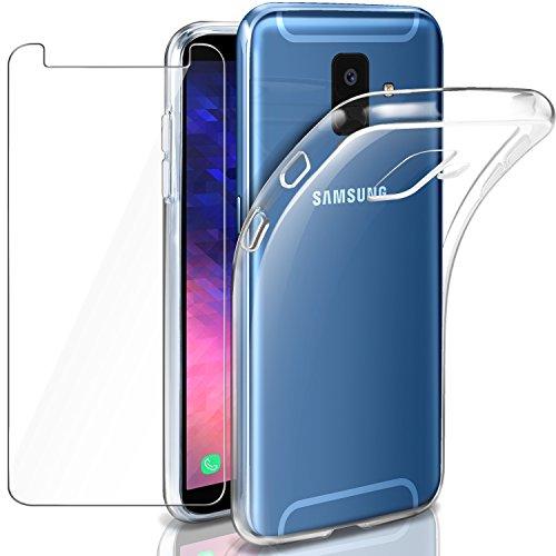 LeathLux Samsung Galaxy A6 Funda + Cristal para Samsung Galaxy A6 2018, Transparente TPU Silicona [Funda + Vidrio Templado] Ultra Fino Protector de Pantalla y Flexible Back Case Samsung Galaxy A6