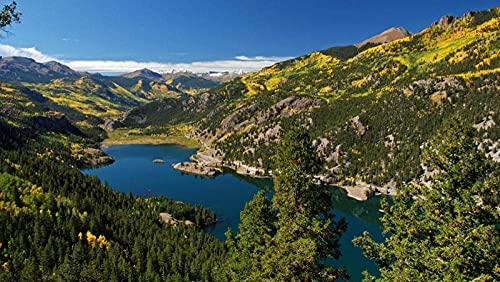 GHGXGJ Rompecabezas - 1000 Piezas, Bosque Lago San Cristóbal Juan montañas Rompecabezas para Adultos niños - descompresión Intelectual 52 * 38 cm
