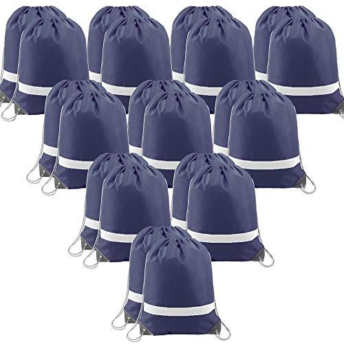 Navy-Drawstring-Backpacks-Bag Reflective Cinch Bags 20 Pack, Promotional Sports Gym Sack Pack String...