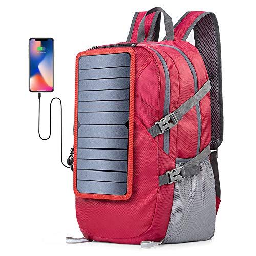 ECEEN Solar Backpack Foldable Hiking Daypack With 5V Power Supply (Red)