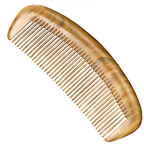 GLAKCO Wooden comb,Handmade Natural Sandalwood Hair Combs,Anti-Static Sandalwood Scent Natural Hair Detangler Comb (Arc)