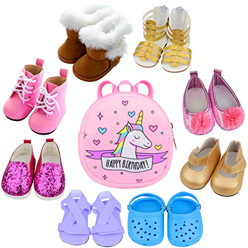 ZITA ELEMENT 8 Pairs of 18 Doll Shoes Boots Sandals and 1 Doll Backpack Bags for American 18 Inch Girl Doll Shoes and Other 18 Inch Doll Shoes and Accessories