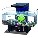 DGHJK Petit Aquarium, Mini-tête Tactile Aquarium léger USB Transparent Aquarium de Bureau électronique Grande capacité Aquarium