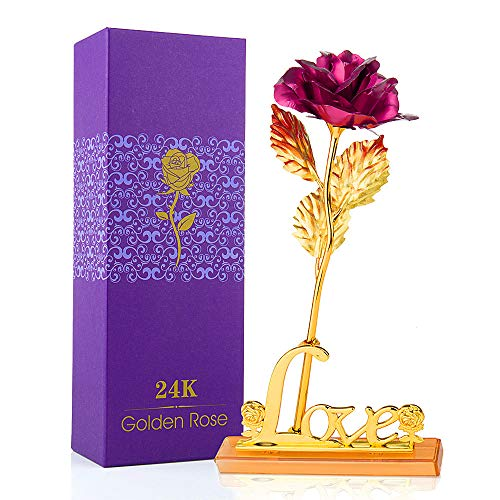 MOOKLIN ROAM 24K Rosa Fiore Artificiale, Placcato Oro Fiore Romantico Eterno con Sacchetto da Regalo per Giorno di Compleanno Anniversario Matrimonio Festa della Mamma - Rosa
