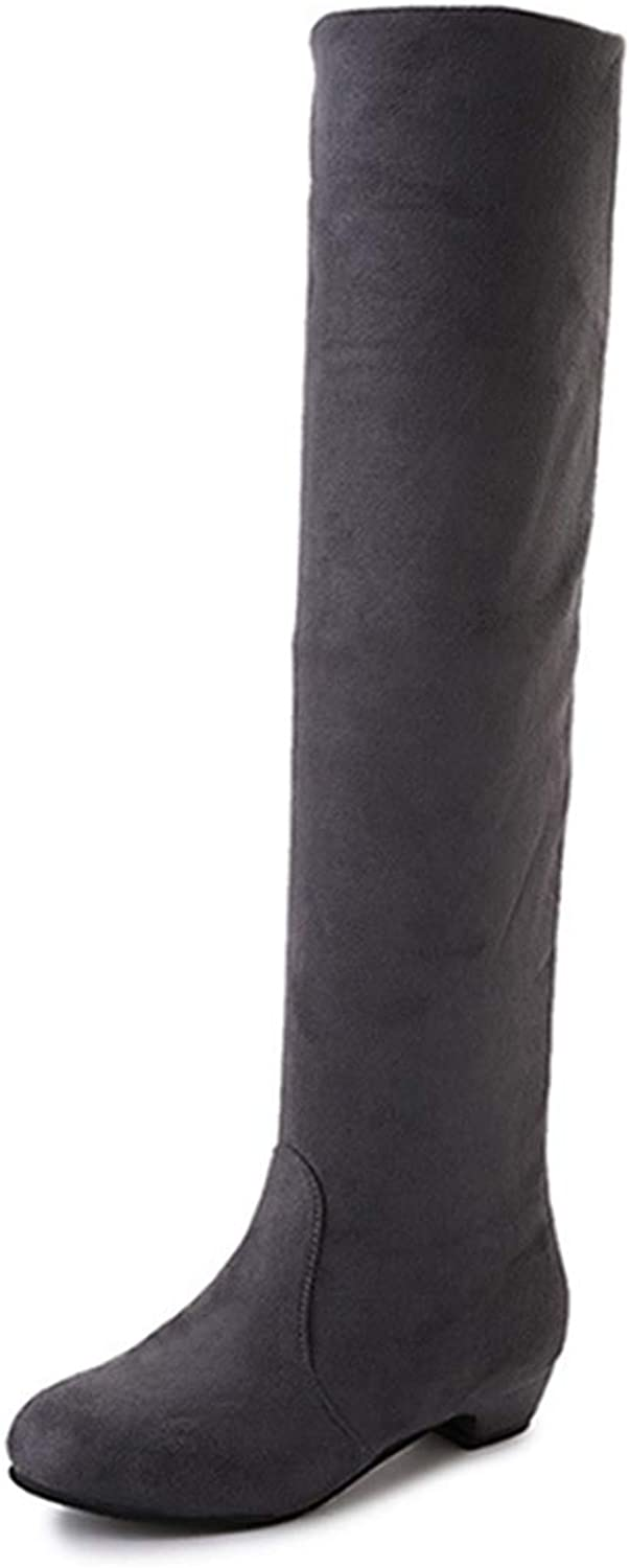 DOSOMI Women's Fashion Sexy Comfy Block Heel Thigh High Autumn Winter Over The Knee Boots