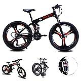 Bicicleta de montaña Hombres Mujeres, bastidor de suspensión plegable de aluminio ligero completo de bicicletas 21/24/27 Velocidad, tres crucero de ruedas de doble freno de disco,Negro,26inch 24speed