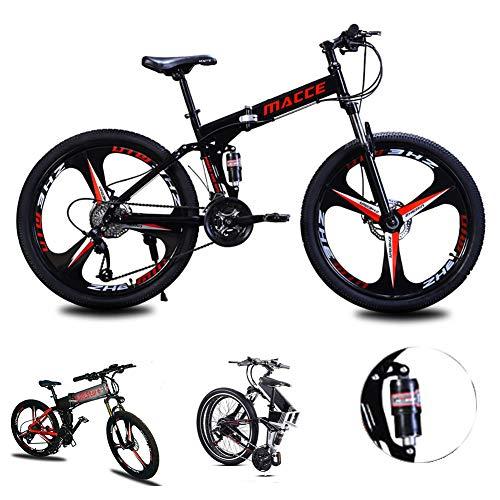 Acptxvh Mountain Bike for Men Women, Folding Lightweight Aluminum Full Suspension Frame Bicycle, 21/24/27-Speed, Three Wheel Cruiser Dual Disc Brake,Black,26inch 24speed