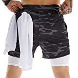 OEBLD Mens Athletic Shorts 2-in-1 Gym Workout Running 7'' Shorts with Towel Loop Camouflage Grey