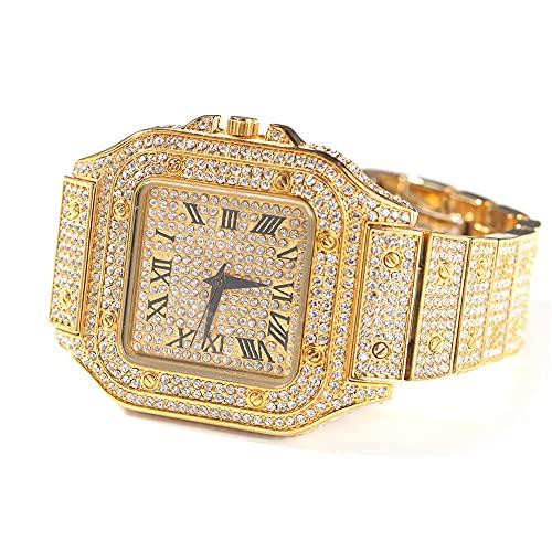 Fantex Relojes de cuarzo estilo tanque con diamantes de imitación brillantes CZ diamante Hip Hop joyería para hombres y mujeres