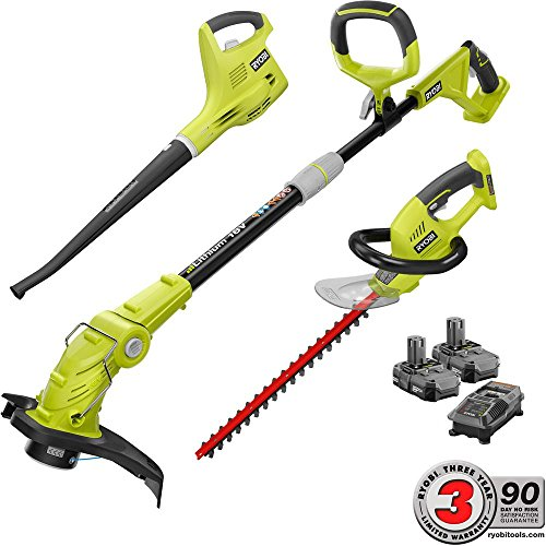 New Ryobi ONE+ 18-Volt Lithium-Ion Cordless Trimmer/Blower/Hedge Combo Kit - Two 1.3Ah Batteries and...
