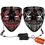 Halloween Mask LED Light up Mask (2 Pack) Scary mask for Festival Cosplay Halloween Costume Masquerade Parties,Carnival (Ice Blue+Pink)