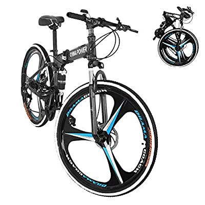 PUTEARDAT 26 Inch Wheels Folding Mountain Bike, 21 Speed Adult Bicycle with Dual Disc Brakes Full Suspension for Men Women (Black)
