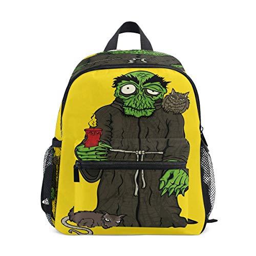 Rucksack Kinder Schulrucksack Halloween Horror Mönch In Robe Monster Schädel Primary Bookbag Schultasche für Mädchen Jungen