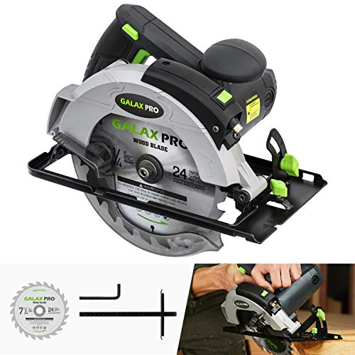 Circular Saw, 12A 5500RPM Electric Saw GALAX PRO Corded Circular Saw with 7-1/4' Circular Saw Blade & Laser Guide Max Cutting Depth 2.45' (90°), 1.81' (45°) for Wood and Log Cutting_GPL12367…