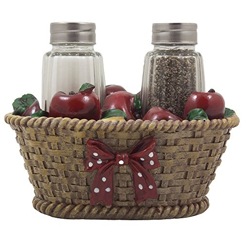 Apple Basket Glass Salt and Pepper Shaker Set with Holder in Country Kitchen Decor and Decorative Dining Room Table Gifts for Farmers