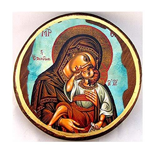 IconsGr ST2 griechisch-christlich-orthodoxe Holz-Ikone der Jungfrau Maria und Jesus Christus