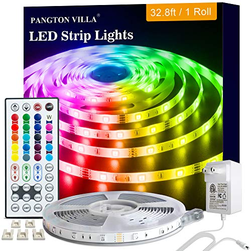 Led Lights Strip for Bedroom, 32.8ft RGB 5050 Led Lights for Bedroom, Room, Kitchen, Home Decor DIY Color Led Light Strip Kit with 44 Key Remote and Power Supply