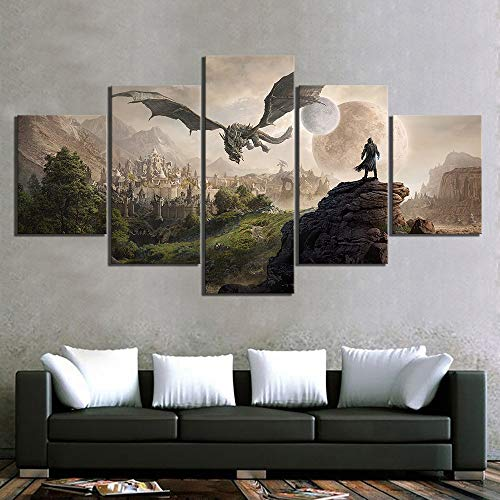 Home Decor Modular Canvas Picture 5 Piece Elder Scrolls 4 Skyrim Game Painting Poster Wall For Home Canvas Painting Frameless (Color : No Frame, Size (Inch) : Size3)