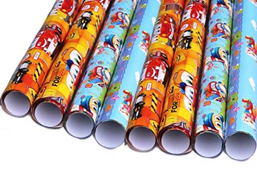 artwelten Home & Style Geburtstagspapier Junge Geschenkpapier für Kinder 8 Rollen Set 1 m x 0,70 cm für Geburtstags Geschenk Verpackung