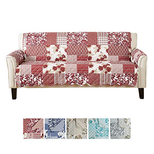 Great Bay Home Patchwork Scalloped Printed Furniture Protector. Stain Resistant Couch Cover. (Sofa,...
