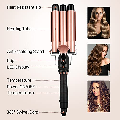 AmoVee 3 Barrel Curling Iron Hair Waver Beach Waves Curling Iron, Hair Curling Iron with LCD Temperature Display, 1 Inch Beach Wave Curler with Glove, Dual Voltage