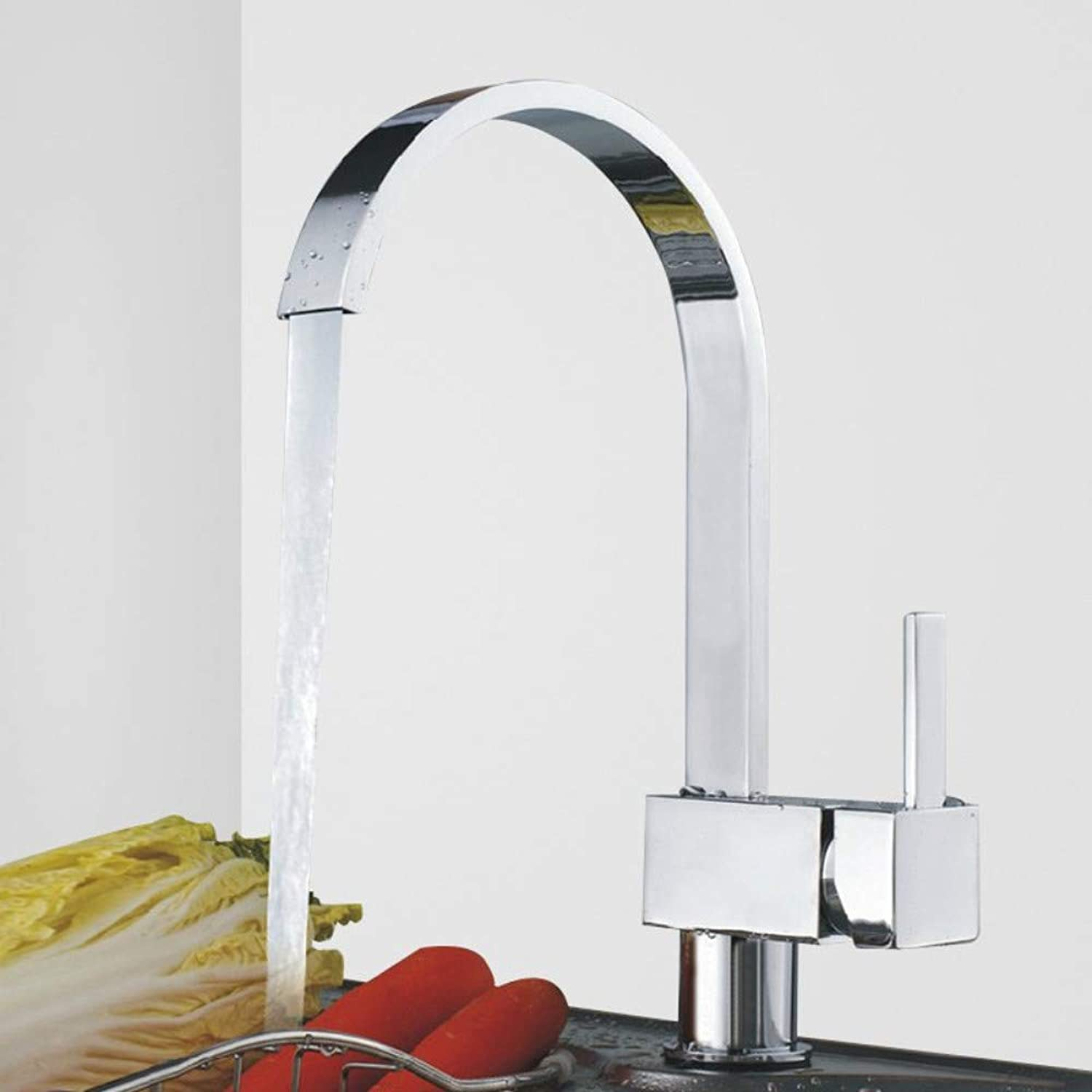 redOOY Taps Faucet Hot And Cold Water Faucet Copper Square Single Handle Single Hole 360 ??redating Faucet Art Wash Basin