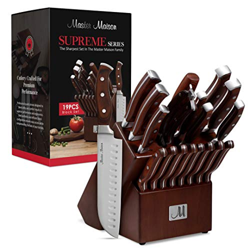 19-Piece Premium Kitchen Knife Set With Wooden Block | Master Maison German Stainless Steel Cutlery With Knife Sharpener & 8 Steak Knives (Walnut)