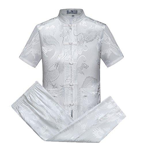 Airuiby Tang Anzug Männer Traditionelle chinesische Kleidung Anzüge Hanfu Baumwolle EIN kurzärmeliges Hemd Mantel Herren Tops und Hosen (Weiß, XL)