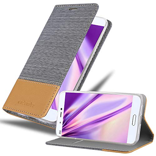 Cadorabo Hülle für Xiaomi Mi 5 - Hülle in HELL GRAU BRAUN – Handyhülle mit Standfunktion & Kartenfach im Stoff Design - Hülle Cover Schutzhülle Etui Tasche Book