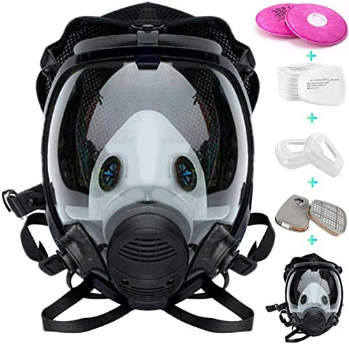 Reusable Full Face Cover 17 in 1 JOEAIS Full Face Respirator Paint Face Cover for Painting Machine Polishing Woodworking Welding Decoration Work and Other Work Protection