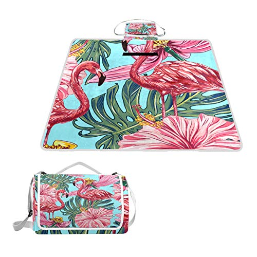 XINGAKA Picknickdecke,Rosa Flamingos Tropische Blumen Dschungelblätter,Outdoor Stranddecke wasserdichte sanddichte tolle Picknick Matte