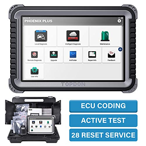Diagnostic Tool TOPDON Phoenix Plus 2021 Advanced ECU Coding, Guided Functional Scan Tool, Bi-Directional OBD2 Scanner, All System Diagnostic Tool, Active Test, 28 Maintenance Service for Mechanics
