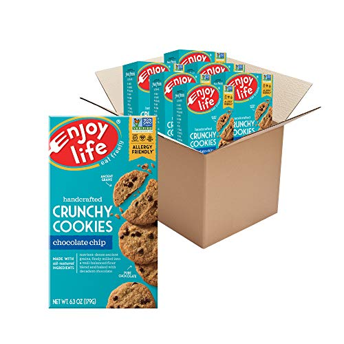 Enjoy Life Crunchy Cookies, Nut Free Cookies, Soy Free, Dairy Free, Gluten Free, Non GMO, Vegan Chocolate Chip Cookies, 6 Boxes
