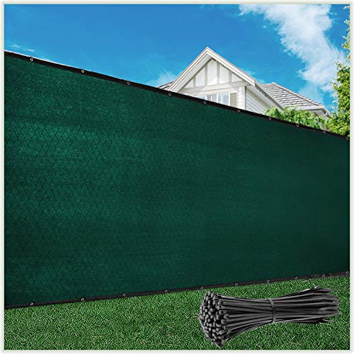 ColourTree 6' x 50' Green Fence Privacy Screen Windscreen Cover Fabric Shade Tarp Netting Mesh Cloth - Commercial Grade 170 GSM - Cable Zip Ties Included - We Make Custom Size