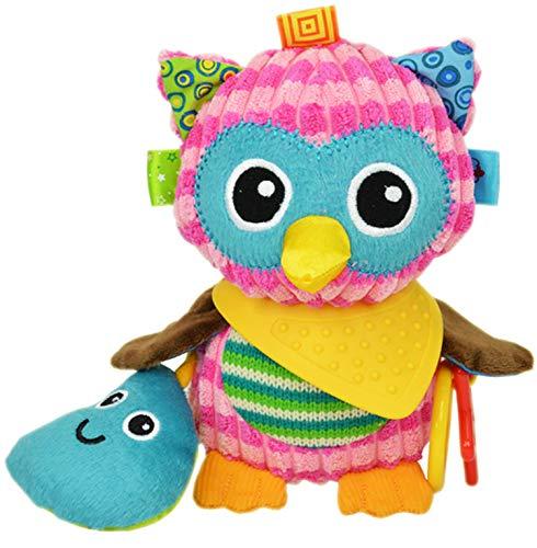 OASMU Babyspielzeug, Kinderwagen-Spielzeug, bunte Eule, waschbarer Quietscher, Auto-Spielzeug, Kinder-Hängespielzeug für Kinderbett mit Beißring