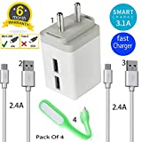 MH BRAND Universal Fast Charger Dual port Adapter with 2 Unbreakable Charging Cable
