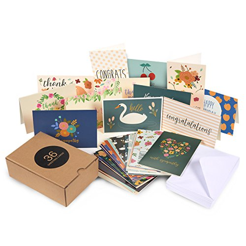 Assorted Greeting Cards � 36-Pack All Occasion Cards, Blank Cards Box Set, Note Cards includes Happy Birthday, Congratulations, Sympathy, Hello, Thank You Cards, Envelopes Included, 4 x 6 Inches