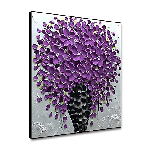 Yongto Canvas Wall Art Modern Texture Purple Flower Hand Painted Oil Painting on Canvas Abstract Floral Wall Prints Modern Wall Decor for Living Room Bedroom Bathroom Wall Artwork 16x16 Inch Framed