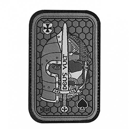 Deus Vult Morale Patch bestickt Crusader & USMC Helme für Tactical Operator Cap mit Hakenverschlüssen grau