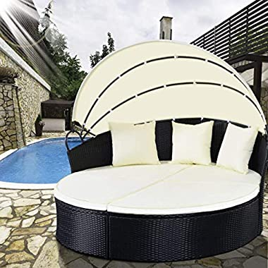 TANGKULA Patio Furniture Outdoor Lawn Backyard Poolside Garden Round Retractable Canopy Wicker Rattan Round Daybed, Seating Separates Cushioned Seats (Without Table Round Bed)