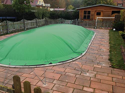 Aufblasbare Abdeckplane für Pool ovalform 4,00 x 10,00m, Farbe: grün, Air Cover, wasserdicht, reißfest