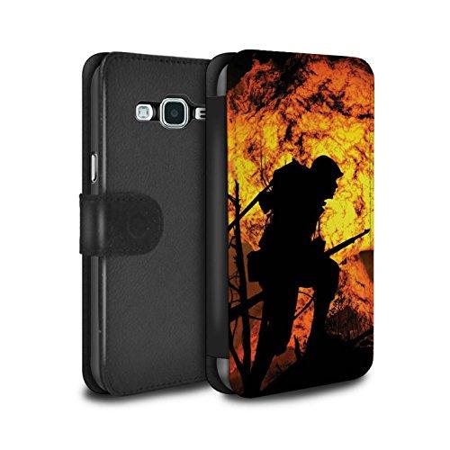 Stuff4 PU-Leder Hülle/Case/Tasche/Cover für Samsung Galaxy J5 2016 / Gräben/Explosion Muster/Krieg Schlacht Video Spielen Kunst Kollektion