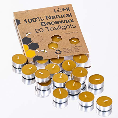 100% Beeswax Tealight Candles with Aluminium Cup - 20PCS Pure Beeswax Candles!