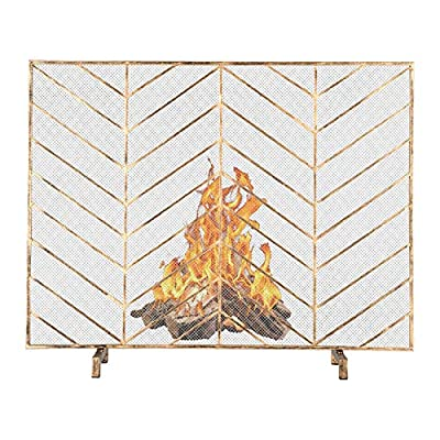 VINGLI Single Panel Iron Fireplace Screen Flat, Freestanding Fire Place Screen w/Sturdy Wrought Iron Frame, Fire Spark Guard Gate w/Metal Decorative Mesh for Outdoor or Indoor Use from VINGLI