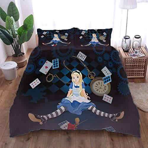 Jior Home Art dekbedovertrek set, geborsteld microvezel, anti-allergeen, dekbedovertrek met 2 kussenslopen, ritssluiting ontwerp poker meisje 3D-gedrukt